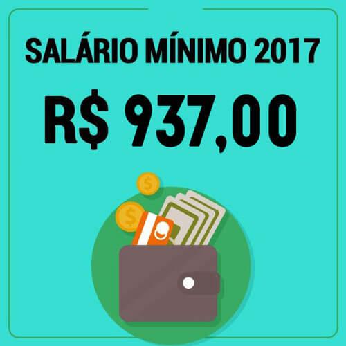 Salário mínimo no 2017 e de 937 reais