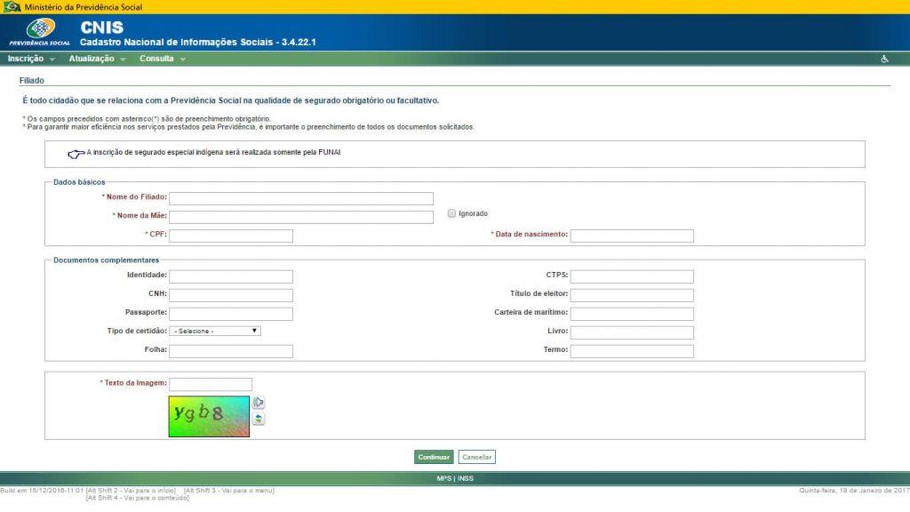 site da previdencia INSS para fazer a inscricao