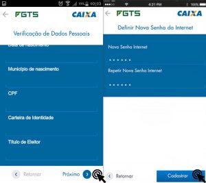 cadastrar senha internet aplicativo FGTS
