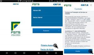 Aceitar os termos de contrato no aplicativo do FGTS