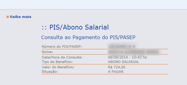 consulta ao pagamento do PIS/PASEP